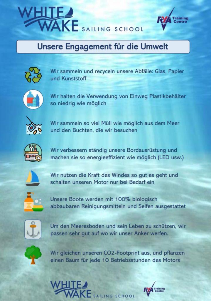 Über uns Umwelt - White Wake Sailing